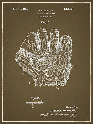 Drawing - 1924 Baseball Glove by Dan Sproul