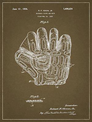Athletes Drawings - 1924 Baseball Glove by Dan Sproul