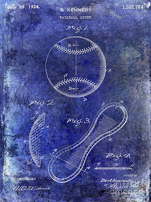 1924 Baseball Patent Blue Art Print by Jon Neidert