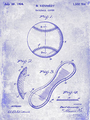 1924 Baseball Patent Blueprint  Art Print by Jon Neidert