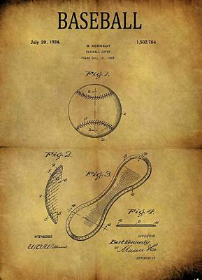 Drawing - 1924 Baseball Patent by Dan Sproul