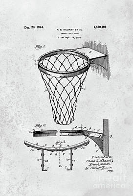 Digital Art - 1924 Basketball Goal Patent Black And White by John Stephens