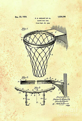 Photograph - 1924 Basketball Goal Patent by John Stephens