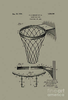 Photograph - 1924 Basketball Goal Patent Silver Bronze by John Stephens