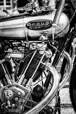 1924 Brough Superior Ktor Brooklands Racer Monochrome Art Print by Tim Gainey