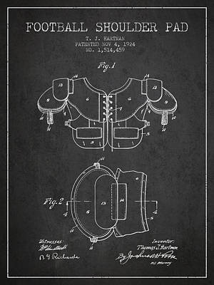 1924 Football Shoulder Pad Patent - Charcoal Art Print by Aged Pixel