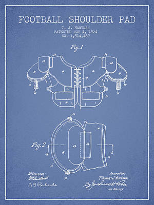 Nfl Player Drawings Drawing - 1924 Football Shoulder Pad Patent - Light Blue by Aged Pixel