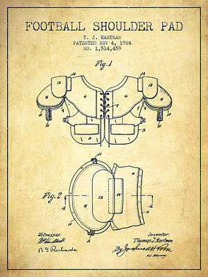 Nfl Player Drawings Drawing - 1924 Football Shoulder Pad Patent - Vintage by Aged Pixel