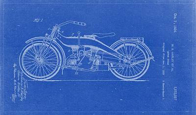 Harley Davidson Painting - 1924 Harley Davidson Patent Blueprint Drawing by Celestial Images
