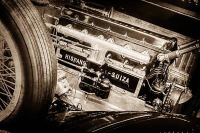 Photograph - 1924 Hispano-suiza H6b Dual  Cowl Sport Phaeton Engine Emblem -0258s by Jill Reger
