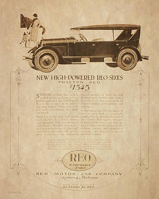 Digital Art - 1924 Reo Phaeton Ad Aged by David King