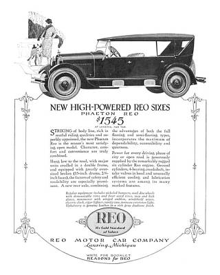 Digital Art - 1924 Reo Phaeton Ad Restored by David King