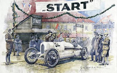 0 Painting - 1924 Zbraslav-jiloviste Regularity Ride To The Top Start Walter W-0 by Yuriy Shevchuk