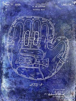 Ny Yankees Photograph - 1925 Baseball Glove Patent Blue by Jon Neidert