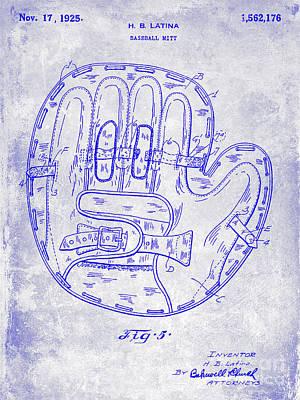 Antique Baseball Bat Photograph - 1925 Baseball Glove Patent Blueprint by Jon Neidert
