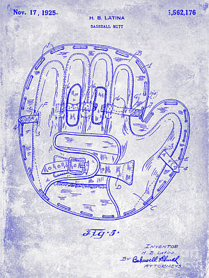 Ny Yankees Photograph - 1925 Baseball Glove Patent Blueprint by Jon Neidert