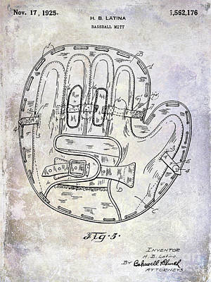 Antique Baseball Bat Photograph - 1925 Baseball Glove Patent by Jon Neidert