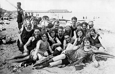 Photograph - 1925 Beach Party by Historic Image