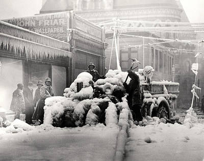 Photograph - 1925 Boston Fire Engine Encased In Ice by Historic Image