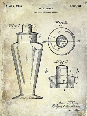 Shakers Photograph - 1925 Cocktail Shaker Patent  by Jon Neidert