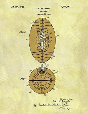 American Football Mixed Media - 1925 Football Patent by Dan Sproul