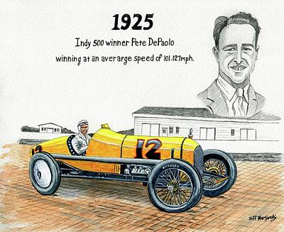 1925 Indy 500 Winner Pete Depaolo Art Print by Jeff Blazejovsky