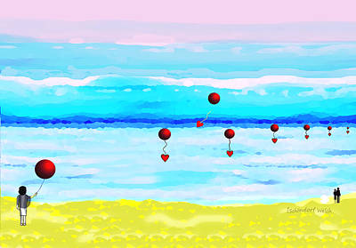 Digital Art - 1925 - Balloons Over The Ocean 2017 by Irmgard Schoendorf Welch