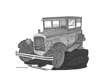 Pen And Ink Of Barn Painting - 1925 Jewett 2 Door Touring Sedan by Jack Pumphrey