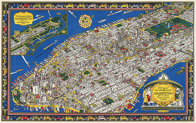 Vintage Map Photograph - 1926 Art Deco Map Of Manhattan by Daniel Hagerman