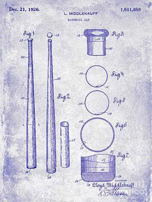 1926 Baseball Bat Patent Blueprint Art Print