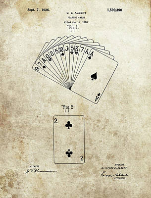 Fantasy Drawings - 1926 Deck Of Cards Patent by Dan Sproul