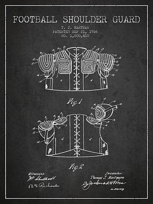 Nfl Player Drawings Drawing - 1926 Football Shoulder Guard Patent - Charcoal by Aged Pixel