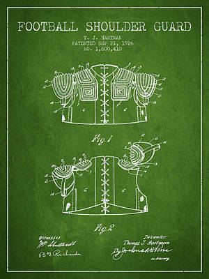 Nfl Player Drawings Drawing - 1926 Football Shoulder Guard Patent - Green by Aged Pixel