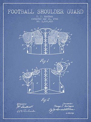 1926 Football Shoulder Guard Patent - Light Blue Art Print by Aged Pixel