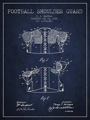 Nfl Player Drawings Drawing - 1926 Football Shoulder Guard Patent - Navy Blue by Aged Pixel