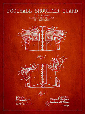 Nfl Player Drawings Drawing - 1926 Football Shoulder Guard Patent - Red by Aged Pixel