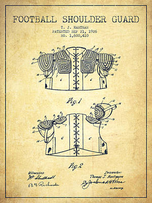 Nfl Player Drawings Drawing - 1926 Football Shoulder Guard Patent - Vintage by Aged Pixel