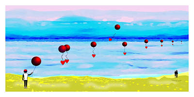Digital Art - 1926 - Red Balloons Flying Over The Water 2017   by Irmgard Schoendorf Welch