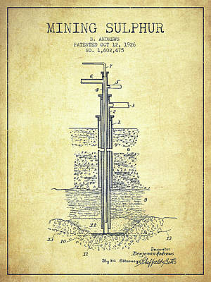 Machinery Digital Art - 1926 Mining Sulphur Patent En37_vn by Aged Pixel