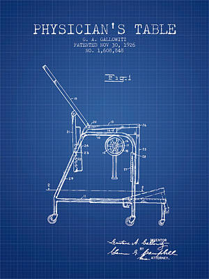 1926 Physicians Table Patent - Blueprint Art Print by Aged Pixel