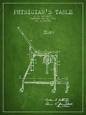 1926 Physicians Table Patent - Green Art Print by Aged Pixel