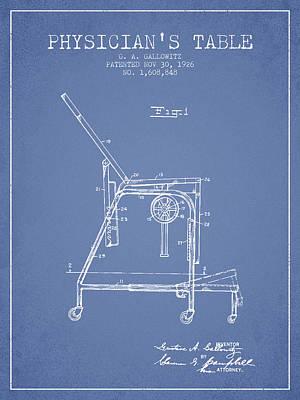 1926 Physicians Table Patent - Light Blue Art Print