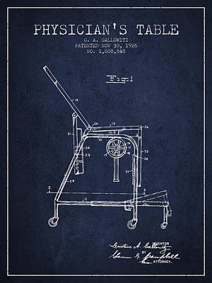 1926 Physicians Table Patent - Navy Blue Art Print by Aged Pixel
