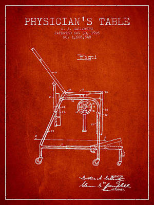 1926 Physicians Table Patent - Red Art Print by Aged Pixel