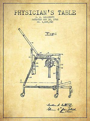 1926 Physicians Table Patent - Vintage Art Print