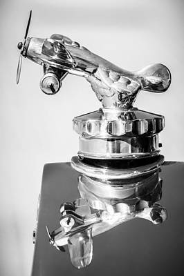 Photograph - 1926 Rickenbacker Eight Super Sport Hood Ornament -1145bw by Jill Reger