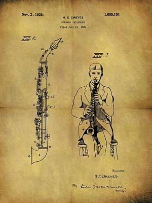 Musicians Drawings - 1926 Soprano Saxophone Patent by Dan Sproul