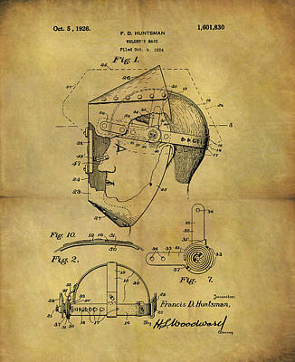 Steampunk Drawings - 1926 Welders Mask Patent by Dan Sproul