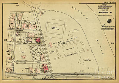 Art Print featuring the photograph 1927 Baker Field Map  by Cole Thompson