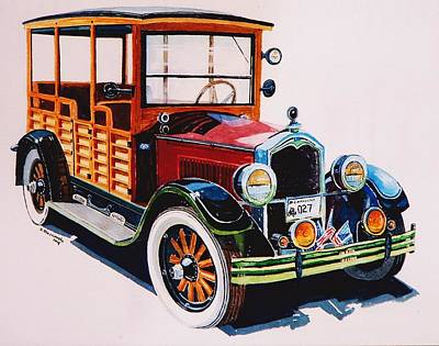 Old Wooden Wagon Painting - 1927 Buick Depot Hack by Jeff Blazejovsky